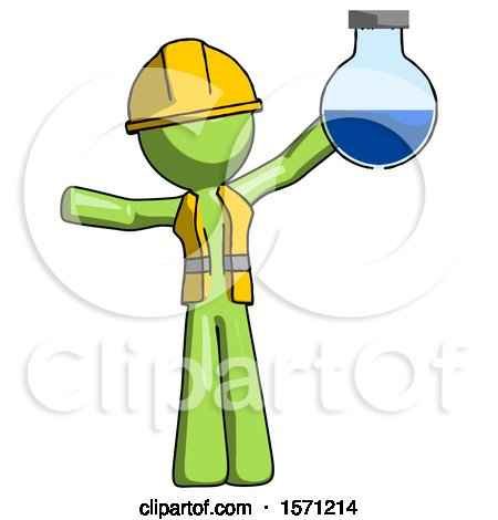 Green Construction Worker Contractor Man Holding Large Round Flask or Beaker by Leo Blanchette