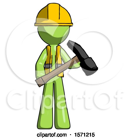 Green Construction Worker Contractor Man Holding Hammer Ready to Work by Leo Blanchette