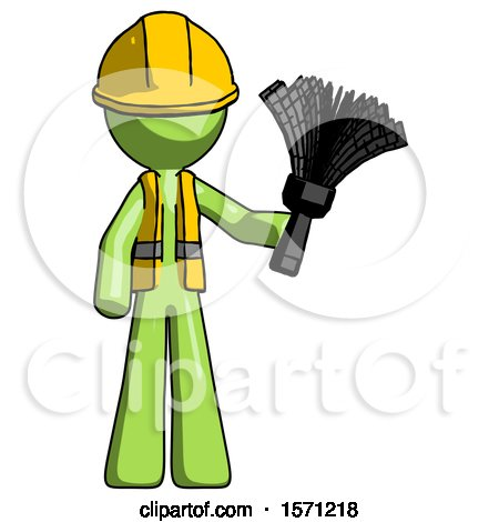 Green Construction Worker Contractor Man Holding Feather Duster Facing Forward by Leo Blanchette