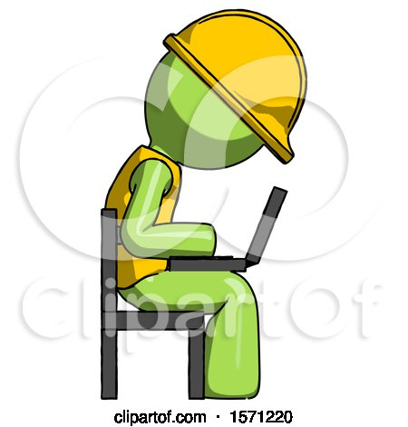 Green Construction Worker Contractor Man Using Laptop Computer While Sitting in Chair View from Side by Leo Blanchette