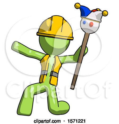 Green Construction Worker Contractor Man Holding Jester Staff Posing Charismatically by Leo Blanchette