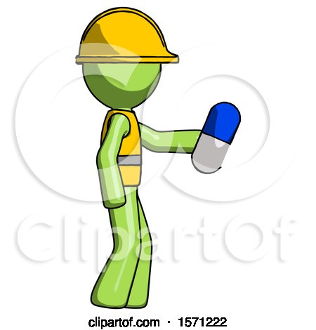 Green Construction Worker Contractor Man Holding Blue Pill Walking to Right by Leo Blanchette