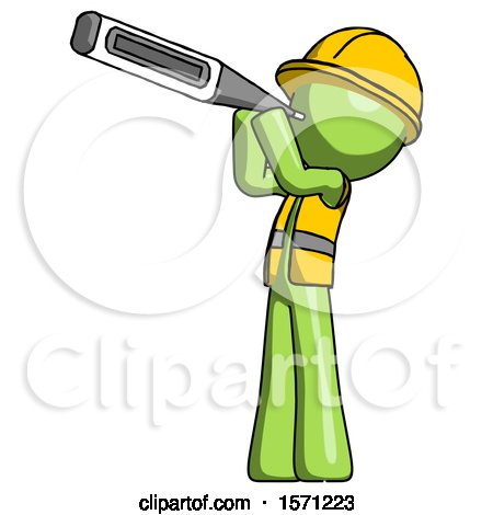 Green Construction Worker Contractor Man Thermometer in Mouth by Leo Blanchette
