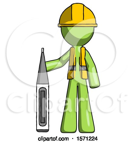 Green Construction Worker Contractor Man Standing with Large Thermometer by Leo Blanchette