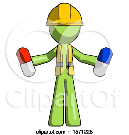 Green Construction Worker Contractor Man Holding a Red Pill and Blue Pill by Leo Blanchette