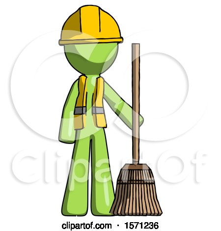Green Construction Worker Contractor Man Standing with Broom Cleaning Services by Leo Blanchette