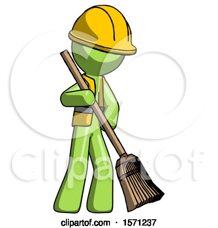 Green Construction Worker Contractor Man Sweeping Area with Broom by Leo Blanchette