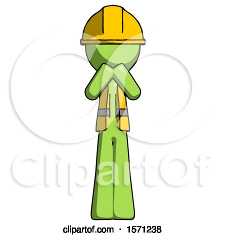Green Construction Worker Contractor Man Laugh, Giggle, or Gasp Pose by Leo Blanchette