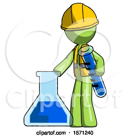 Green Construction Worker Contractor Man Holding Test Tube Beside Beaker or Flask by Leo Blanchette