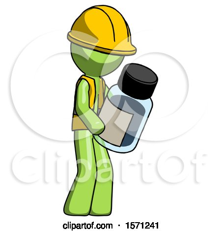 Green Construction Worker Contractor Man Holding Glass Medicine Bottle by Leo Blanchette