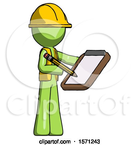 Green Construction Worker Contractor Man Using Clipboard and Pencil by Leo Blanchette