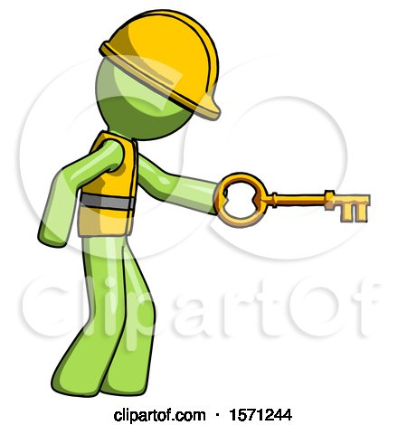 Green Construction Worker Contractor Man with Big Key of Gold Opening Something by Leo Blanchette