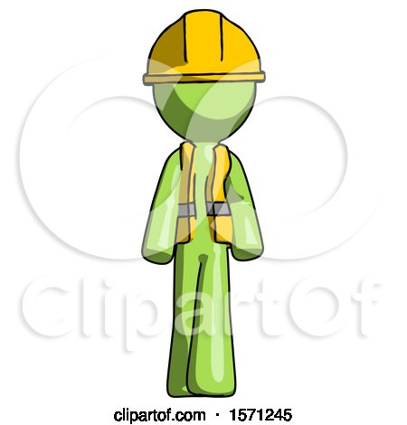 Green Construction Worker Contractor Man Walking Front View by Leo Blanchette