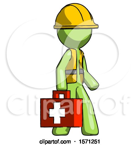 Green Construction Worker Contractor Man Walking with Medical Aid Briefcase to Right by Leo Blanchette