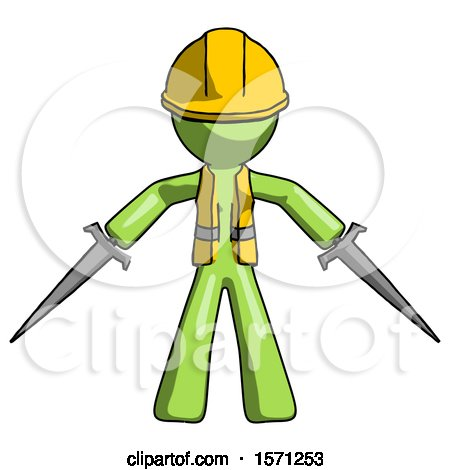 Green Construction Worker Contractor Man Two Sword Defense Pose by Leo Blanchette