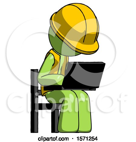Green Construction Worker Contractor Man Using Laptop Computer While Sitting in Chair Angled Right by Leo Blanchette