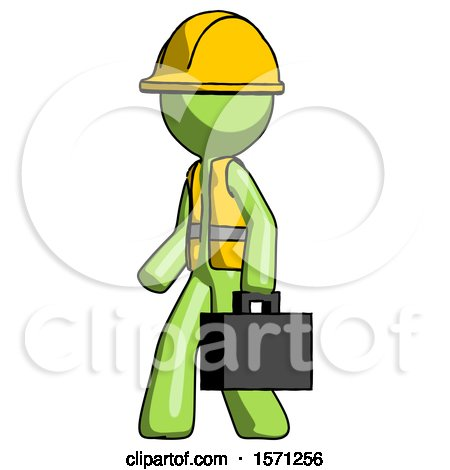 Green Construction Worker Contractor Man Walking with Briefcase to the Left by Leo Blanchette
