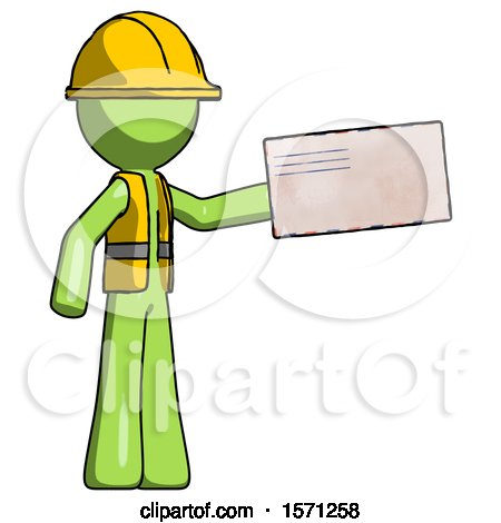 Green Construction Worker Contractor Man Holding Large Envelope by Leo Blanchette