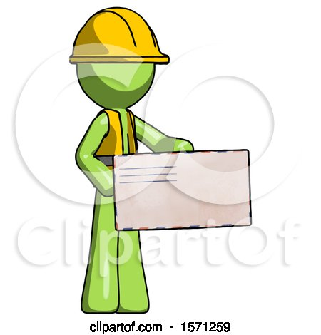 Green Construction Worker Contractor Man Presenting Large Envelope by Leo Blanchette