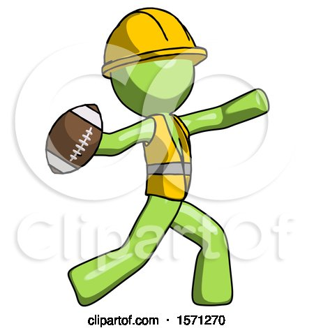 Green Construction Worker Contractor Man Throwing Football by Leo Blanchette