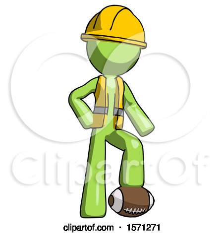 Green Construction Worker Contractor Man Standing with Foot on Football by Leo Blanchette