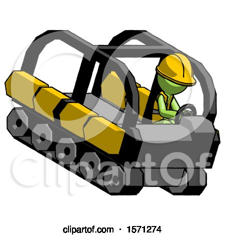 Green Construction Worker Contractor Man Driving Amphibious Tracked Vehicle Top Angle View by Leo Blanchette