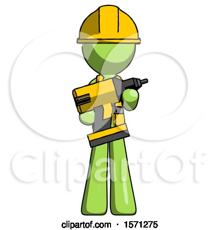 Green Construction Worker Contractor Man Holding Large Drill by Leo Blanchette