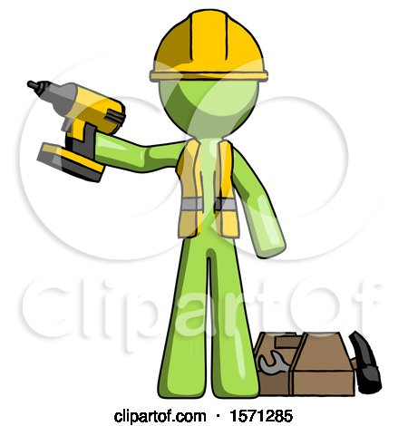 Green Construction Worker Contractor Man Holding Drill Ready to Work, Toolchest and Tools to Right by Leo Blanchette
