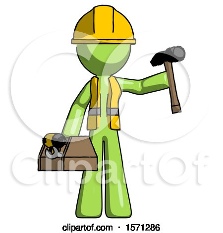 Green Construction Worker Contractor Man Holding Tools and Toolchest Ready to Work by Leo Blanchette