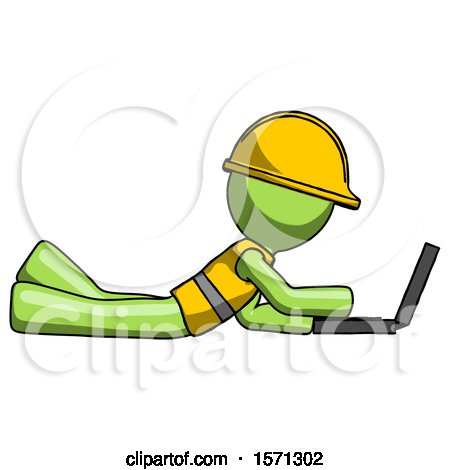 Green Construction Worker Contractor Man Using Laptop Computer While Lying on Floor Side View by Leo Blanchette