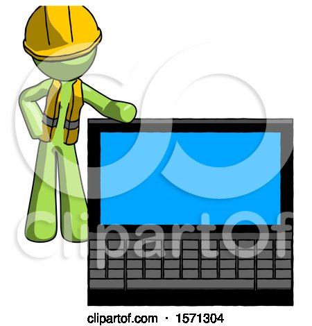Green Construction Worker Contractor Man Beside Large Laptop Computer, Leaning Against It by Leo Blanchette