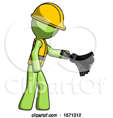 Green Construction Worker Contractor Man Dusting with Feather Duster Downwards by Leo Blanchette