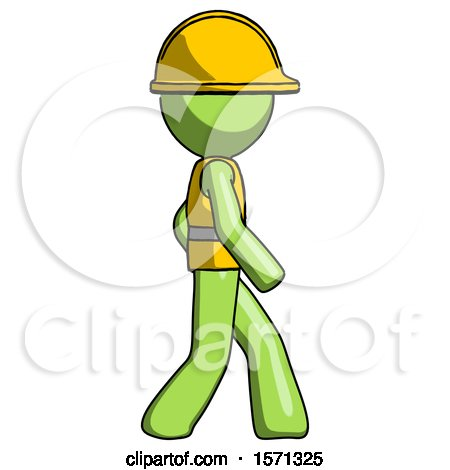 Green Construction Worker Contractor Man Walking Right Side View by Leo Blanchette