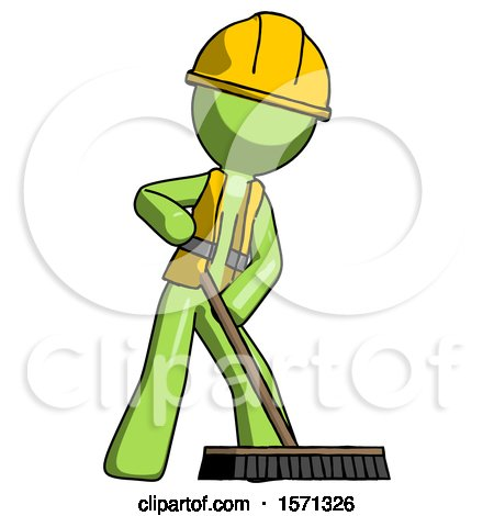 Green Construction Worker Contractor Man Cleaning Services Janitor Sweeping Floor with Push Broom by Leo Blanchette