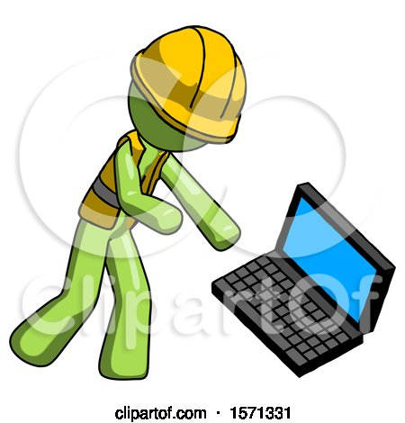 Green Construction Worker Contractor Man Throwing Laptop Computer in Frustration by Leo Blanchette