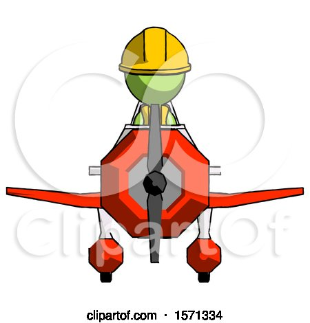Green Construction Worker Contractor Man in Geebee Stunt Plane Front View by Leo Blanchette