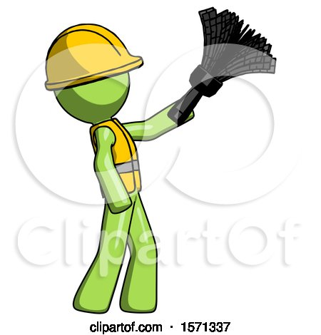 Green Construction Worker Contractor Man Dusting with Feather Duster Upwards by Leo Blanchette