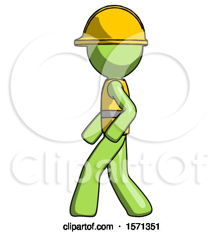 Green Construction Worker Contractor Man Walking Left Side View by Leo Blanchette