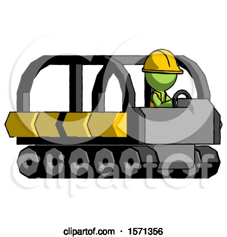 Green Construction Worker Contractor Man Driving Amphibious Tracked Vehicle Side Angle View by Leo Blanchette