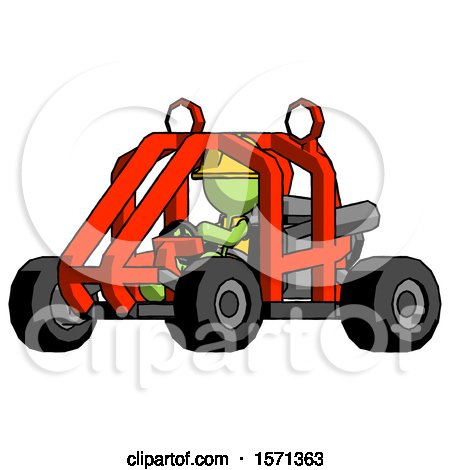 Green Construction Worker Contractor Man Riding Sports Buggy Side Angle View by Leo Blanchette