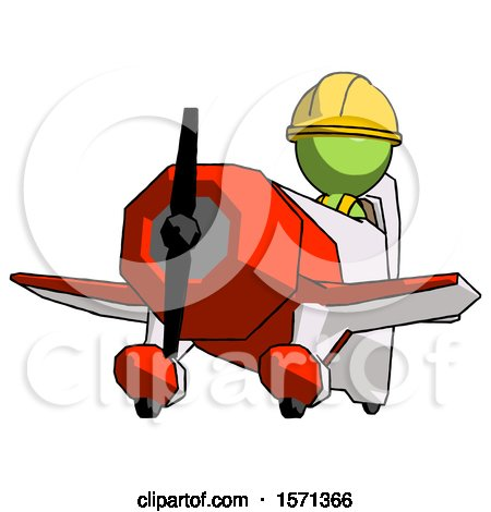Green Construction Worker Contractor Man Flying in Geebee Stunt Plane Viewed from Below by Leo Blanchette