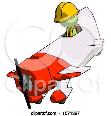 Green Construction Worker Contractor Man in Geebee Stunt Plane Descending View by Leo Blanchette