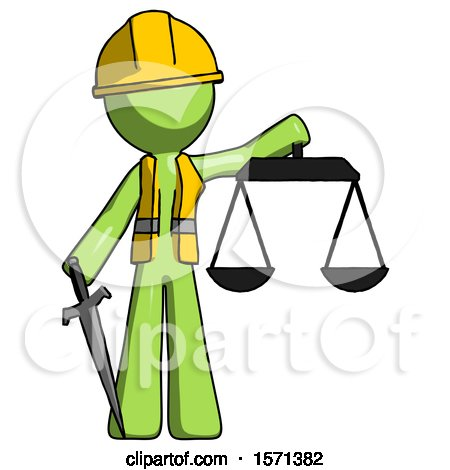 Green Construction Worker Contractor Man Justice Concept with Scales and Sword, Justicia Derived by Leo Blanchette