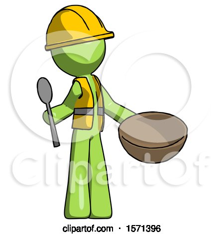 Green Construction Worker Contractor Man with Empty Bowl and Spoon Ready to Make Something by Leo Blanchette