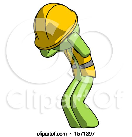 Green Construction Worker Contractor Man with Headache or Covering Ears Turned to His Left by Leo Blanchette