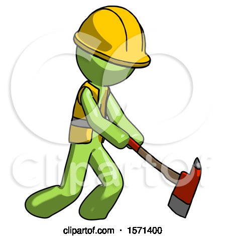 Green Construction Worker Contractor Man Striking with a Red Firefighter's Ax by Leo Blanchette