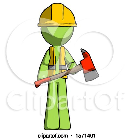 Green Construction Worker Contractor Man Holding Red Fire Fighter's Ax by Leo Blanchette