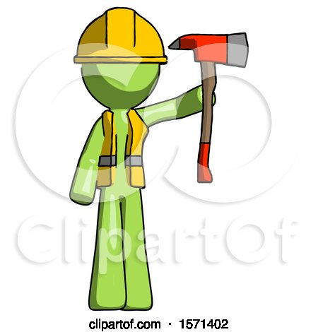 Green Construction Worker Contractor Man Holding up Red Firefighter's Ax by Leo Blanchette