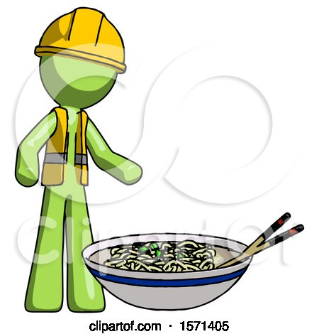 Green Construction Worker Contractor Man and Noodle Bowl, Giant Soup Restaraunt Concept by Leo Blanchette