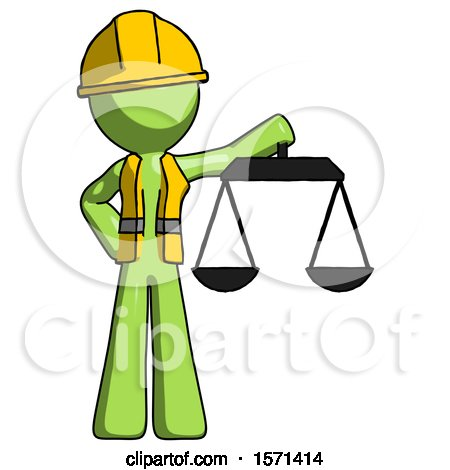 Green Construction Worker Contractor Man Holding Scales of Justice by Leo Blanchette